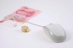 Mouse and rmb coins Royalty Free Stock Images