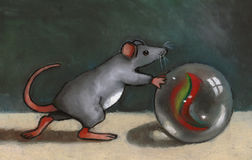 Mouse Rolling Marble: Oil Pastel. Oil pastel painting of a cute mouse rolling a large, shiny marble Royalty Free Stock Photography