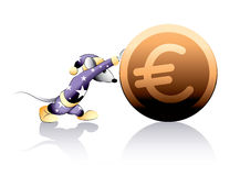 Mouse rolls a coin Stock Images