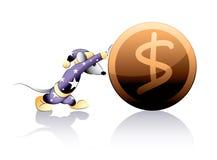 Mouse rolls a coin Stock Photos