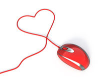 Mouse rosso del calcolatore Fotografie Stock Libere da Diritti