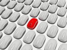 Mouse rosso nel grey Fotografia Stock