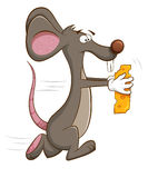 Mouse runs off with piece of cheese in his hands. Royalty Free Stock Photography