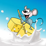 Mouse sails on raft cheese - vector Stock Photos