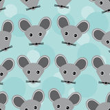 Mouse Seamless pattern with funny cute animal face on a blue background. Vector Stock Image