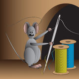 Mouse-seamstress. Illustration of mouse with needle and two spools of thread Stock Images