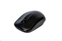 Mouse senza fili nero del calcolatore isolato su bianco Fotografia Stock