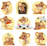 Mouse set. Cute brown mouse cartoon in action set, with nine different rats in different situations like: standing confident, hiding in its hole, resting on Stock Images