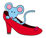 Mouse in shoe Stock Images