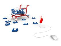 Mouse with shopping cart. Stock Images