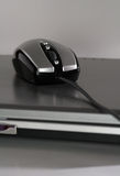 Mouse on a silver laptop. The new generation mouse that look like a racing car on a silver laptop stock image