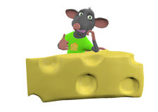 Mouse sitting above a cheese on white background Stock Photo