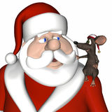 Mouse - Sitting on Santa's Sho. A toon mouse wearing a Christmas hat sitting on Santa's shoulder Stock Images