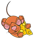 Mouse sleeping and hugging one piece of cheese Royalty Free Stock Images