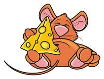 Mouse sleeping and hugging one piece of cheese Royalty Free Stock Photo