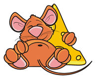Mouse sleeping and hugging a piece of cheese Royalty Free Stock Images