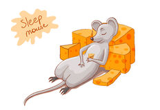 Mouse sleeping illustration Stock Photos