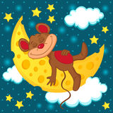 Mouse sleeping on the moon in the form of cheese. Vector illustration Stock Photos