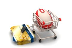 Mouse and smart card with shopping trolley Royalty Free Stock Image