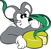 Mouse and smelly cheese Royalty Free Stock Images