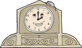 Mouse on Smiling Clock Royalty Free Stock Photography