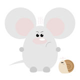 Mouse and Snail Angry. Funny cartoon angry mouse and his snail friend Royalty Free Stock Image