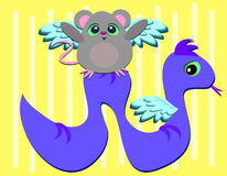 Mouse and Snake Angels are Friends Stock Image