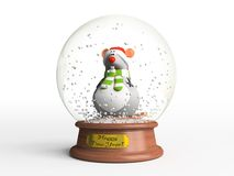 Mouse in snow globe. The symbol of New Year Royalty Free Stock Image