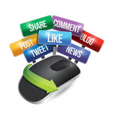 Mouse with social media signs illustration Royalty Free Stock Photo