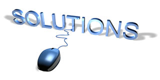Mouse Solutions. 3d mouse with text soltutions Stock Images