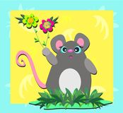 Mouse with Spiral Flowers Royalty Free Stock Photo
