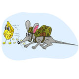 Mouse spying cheese cartoon illustration. food and Stock Photos
