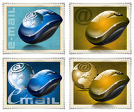 Mouse stamps e-mail. Four stamps with the mouse, globe and symbol e-mail Royalty Free Stock Image