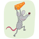 Mouse stealing cheese Stock Images