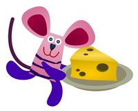 Mouse steals cheese Stock Photo