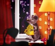 Mouse su un davanzale della finestra Fotografia Stock Libera da Diritti