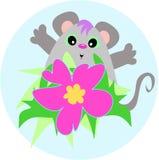 Mouse sveglio con un fiore dell'ibisco Fotografia Stock