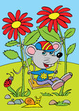 The mouse on the swing made from two flowers Royalty Free Stock Photos