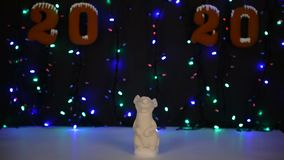 The mouse - symbol of year 2020. Garland background illumination stock video footage