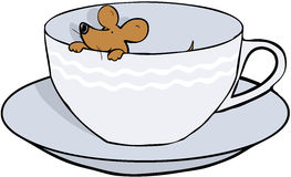 Mouse in teacup. Little mouse peeking out of teacup Royalty Free Stock Photography