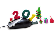 Mouse, Text 2011, Christmas Tree and Gifts - 2 Royalty Free Stock Images
