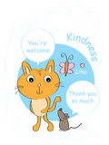 Mouse thank you cat card vector illustration