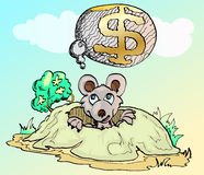 Mouse thinking a dollar house. Illustration of coruption drawn by mouse thinking a dollar house Stock Image