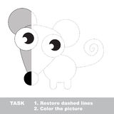Mouse to be colored. Vector trace game. Mouse in vector colorful to be traced. Restore dashed line and color the picture. Visual game for kids. Worksheet to be Royalty Free Stock Photo