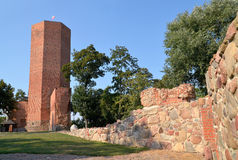 Mouse Tower. And fragments of defensive walls in Kruszwica, Poland royalty free stock image