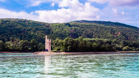 The Mouse Tower Mauseturm in the Rhine river near Bingen Stock Photo