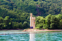 The Mouse Tower Mauseturm in the Rhine river near Bingen Royalty Free Stock Photos