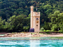 The Mouse Tower Mauseturm in the Rhine river near Bingen Royalty Free Stock Image