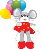 Mouse toy with colorful balloons Stock Image