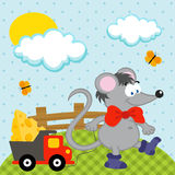 Mouse with toy vector. Cute little mouse rolls filled with cheese machine Royalty Free Stock Images